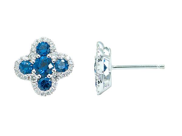 pendientes de oro blanco con diamantes y zafiros joyeria guinot