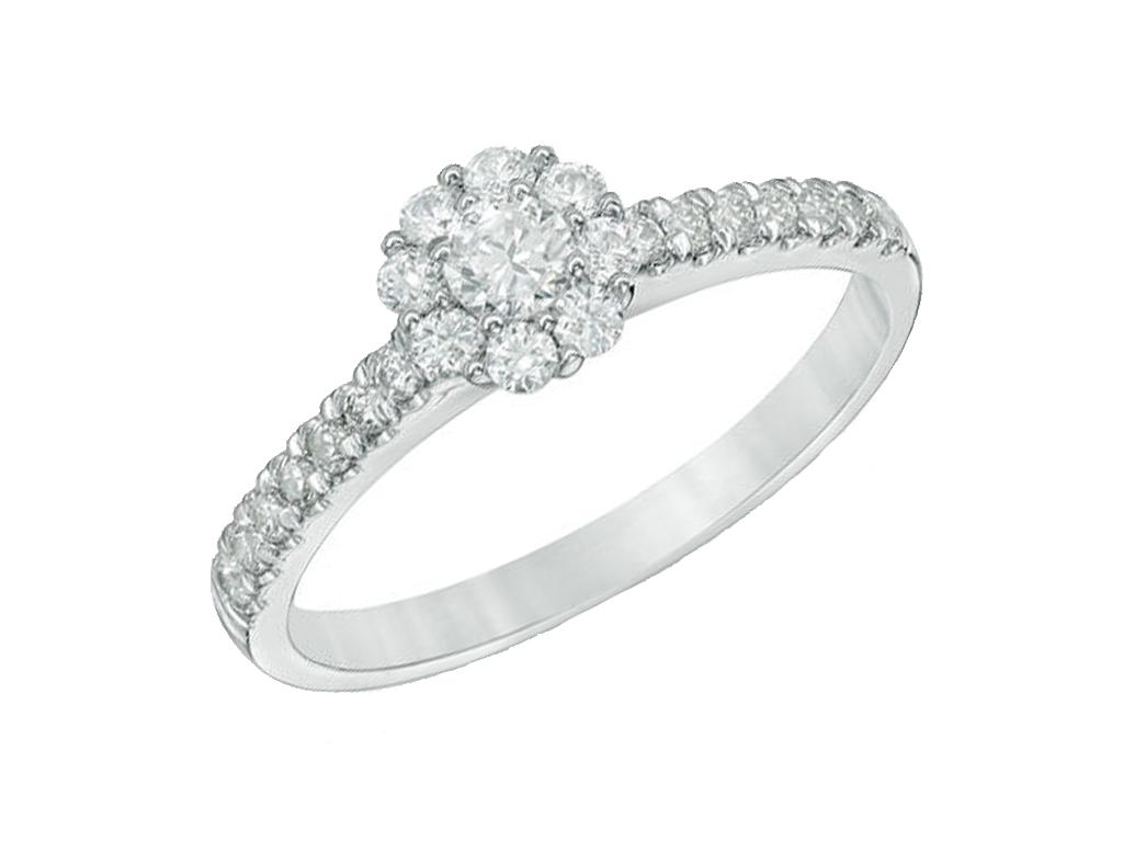 anillo oro blanco y diamantes engastados